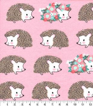 Nursery Flannel Fabric-Hanna Pink Hedgehog Linear