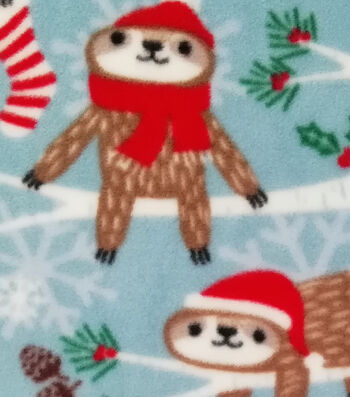 Anti-Pill Plush Fabric -Christmas Sloth
