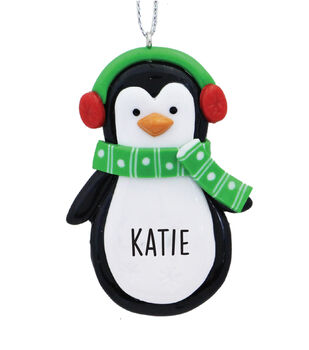 Handmade Holiday Christmas Penguin Ornament with Personalized Name