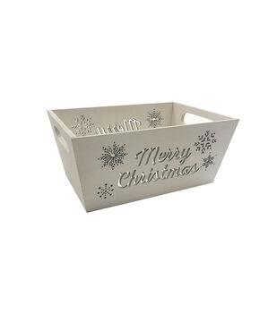Handmade Holiday Christmas Wood Crate-White Merry Christmas