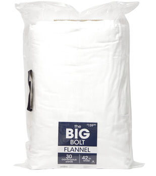 The BIG Bolt Cozy Flannel Fabric x30 yds-White