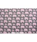 Blizzard Fleece Fabric -Elephants with Pink Geometrics