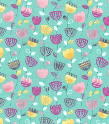 Premium Cotton Fabric 43''-Raining Tulips