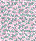 1930\u0027s Premium Cotton Print Fabric 43\u0027\u0027-Floral Vines on Pink