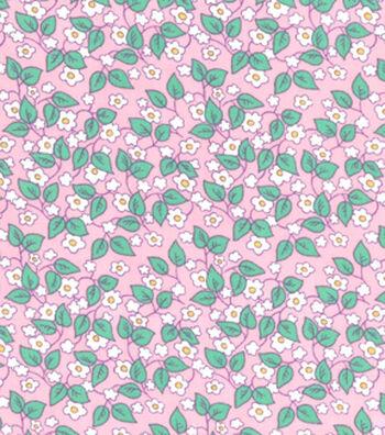 1930's Premium Cotton Print Fabric 43''-Floral Vines on Pink