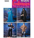 Simplicity Pattern 5840A Adult Costumes-Size XS S M L XL