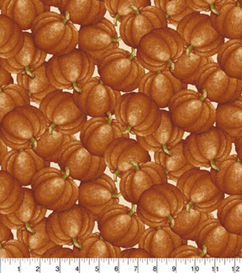 "Harvest Cotton Fabric 43""-Tossed Pumpkins"