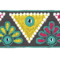 Simplicity Trims-2\u0022 Triangle Mirror Embroidered Teal
