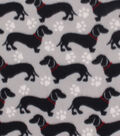 Blizzard Fleece Fabric 59\u0027\u0027-Downtown Daschund