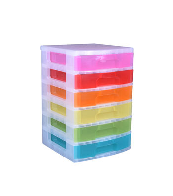 Really Useful Box 6 x 9 Litre Drawer Tower-Rainbow