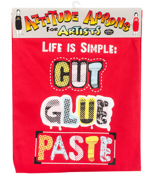 Attitude Artist Apron Red-Cut, Glue, Paste