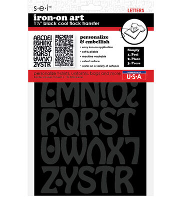 Iron-On Art Flocked Transfer Letters-Cool Black