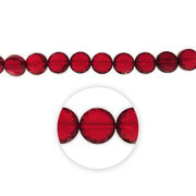 "Blue Moon Beads 7"" Crystal Strand, Coin-Shaped with flower facets, Red, , hi-res"