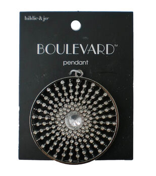 hildie & jo Boulevard Sunburst Silver Pendant-Clear Crystal Beads