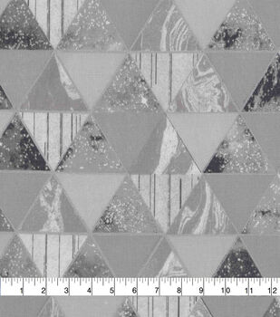 Keepsake Calico Cotton Fabric-Metallic Gray Space & Geometric