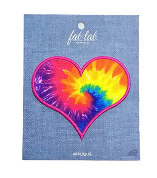 Fab Lab 4.87''x3.87'' Tie Dye Heart Iron-on Applique Patch