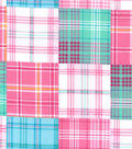 Snuggle Flannel Fabric -Pink & Blue Madras Plaid Patchwork