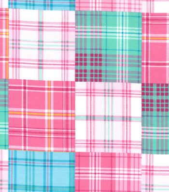 Snuggle Flannel Fabric 42''-Pink & Blue Madras Plaid Patchwork