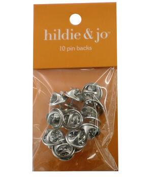 hildie & jo 10 Pack Pin Backs-Silver
