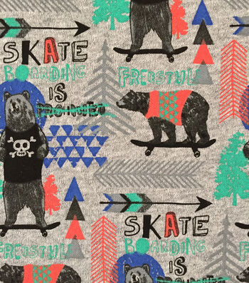 "Doodles Cotton Fabric 57""-Boarding Bear"