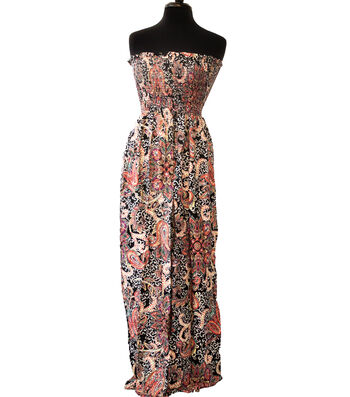"""Style In An Instant Rayon Challis Smocked Fabric 53""""-Boho Floral Paisley"""