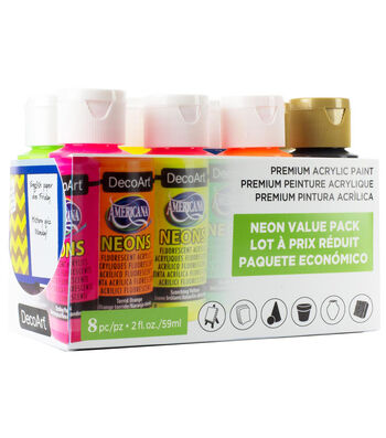 DecoArt Americana Acrylic Paint Value Pack 8/Pkg-Neon