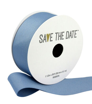 """Save the Date 1.5"""" x 30ft Ribbon-Grey Blue Grosgrain"""