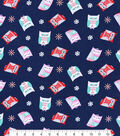 Snuggle Flannel Fabric -Navy Nordic Owl