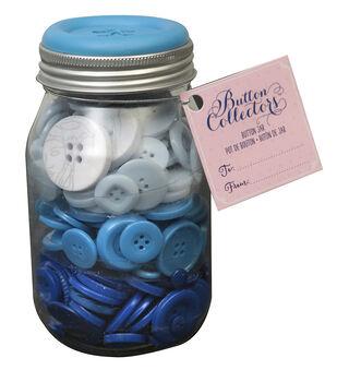 Button Collector Mason Jar-Blue Ombre