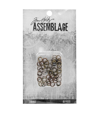 Tim Holtz Assemblage Pack of 60 Jump Rings Findings-Assorted