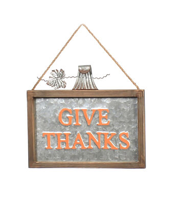 Simply Autumn Wall Decor-Galvanized Give Thanks