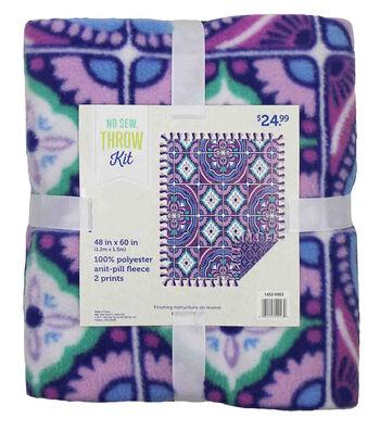 "No-Sew Throw Fleece Fabric 48""-Mosaic Periwinkle"
