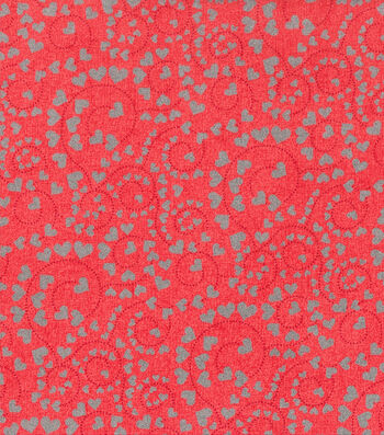 Valentine's Day Cotton Fabric-Swirls & Glitter Hearts on Red
