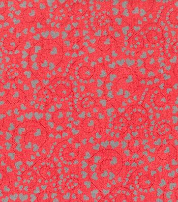 """Valentine's Day Cotton Fabric 43""""-Heart Swirls Red Glitter"""