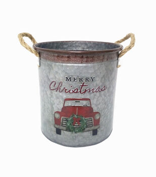Handmade Holiday 9.8'' Cylinder Metal Bucket with Rope Handles-Car