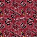 University of South Carolina Gamecocks Cotton Fabric-Tone on Tone