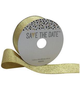 Save the Date 1.5'' X 15' Ribbon-Gold Metallic