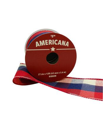 """Americana Ribbon 2.5""""x12'-Red, White & Blue Plaid"""