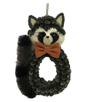 Blooming Autumn Wood Flower & Sisal Raccoon Wreath