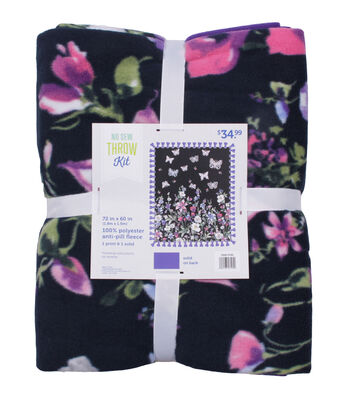 """No Sew Fleece Throw 72""""-Floral Butterfly"""