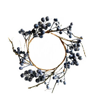 Handmade Holiday Christmas Mini Berry Wreath-Blue