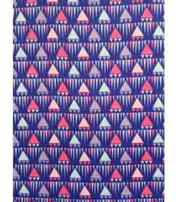 Doodles Juvenile Apparel Fabric 57''-Blue Triangles Interlock