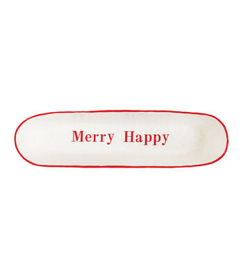 3R Studios Christmas Stoneware Oval Bowl-Red Merry Happy on White