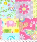 Nursery Fleece Fabric -Pink Elephant Patchwork