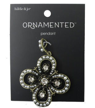 hildie & jo Ornamented Antique Gold Cross Pendant-Pearl & Crystal