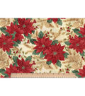 Christmas Cotton Fabric -Poinsettias and Holly
