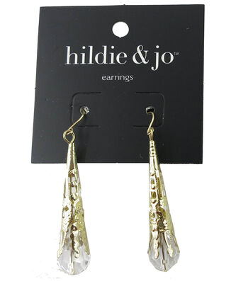hildie & jo 2''x0.38'' Gold Earrings-Oblong Rhinestone Drop