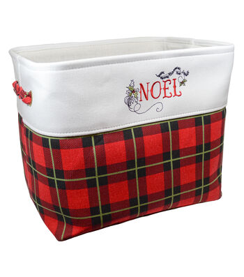 Christmas Medium Soft Storage Bin-Plaid & Beautiful Blessing