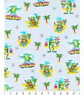 Novelty Cotton Fabric -Frogs On Beach