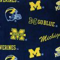 University of Michigan Wolverines Fleece Fabric -Allover Blue